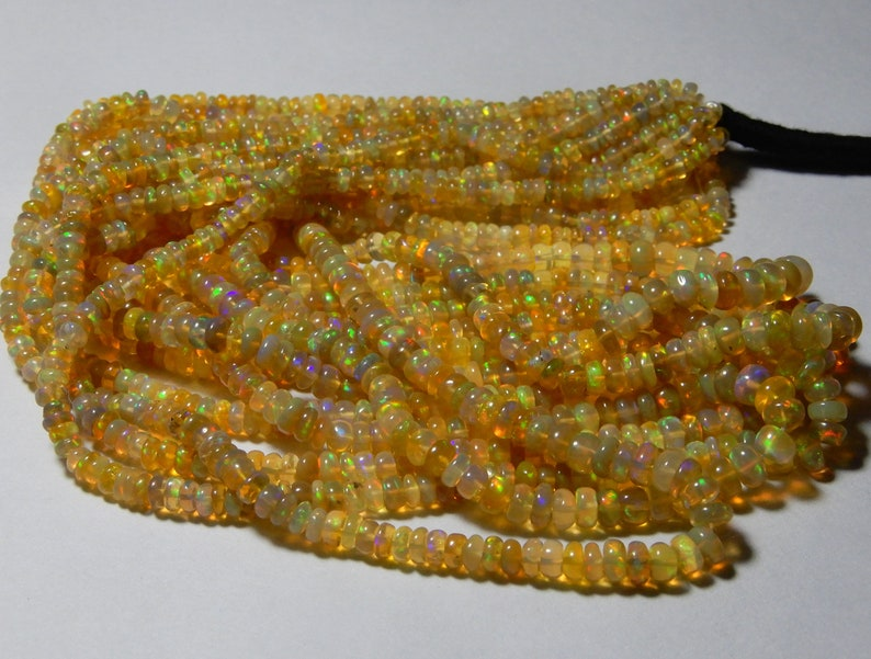 5 STRAND Natural Ethiopian opal Roundel Plain Beads 3 to 5 MM Size AAA Quality Welo fire Opal Beads 16Inch Long Strand In low Price