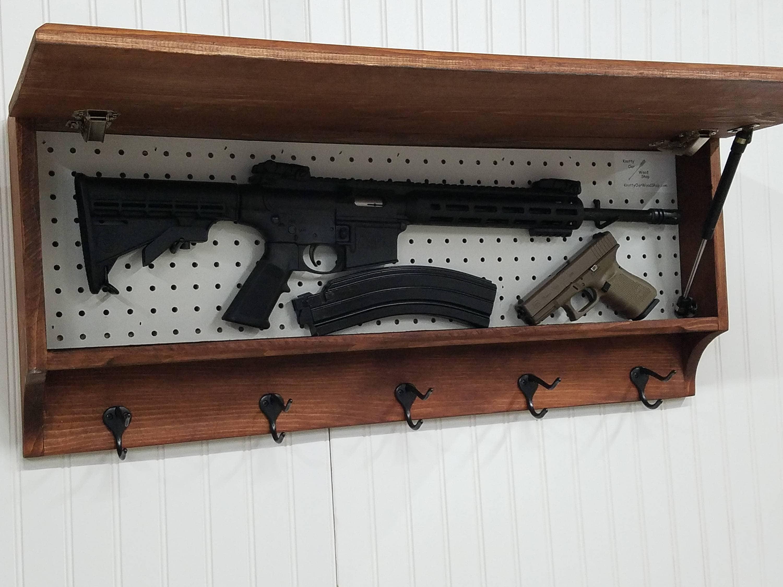 5 Hook Coat Rack With Hidden Gun Concealment Storage