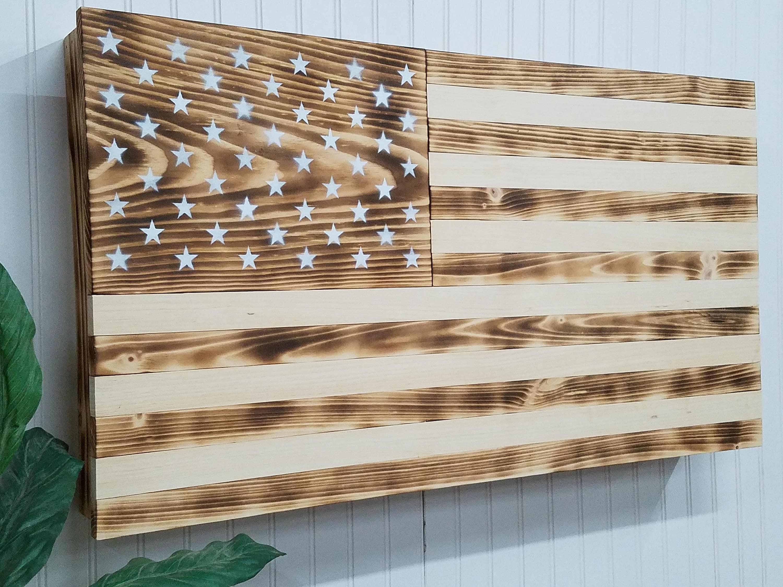 Burnt Charred American Flag Wooden Concealment Furniture Compartment Cabinet Secret Hidden Concealed Gun Rack Tool Storage Protection Case