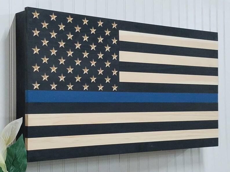 35f0f74f6b0 Thin Blue Line American flag wooden concealment furniture