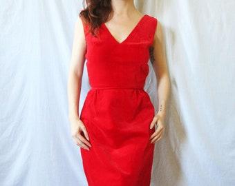 50s Stunning Cherry Red Wiggle Dress XS S