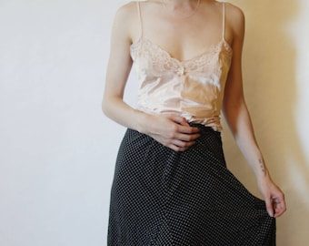 90s Silk Polka Dot Skirt XS S