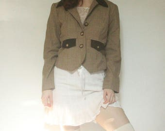 90s Houndstooth Riding Jacket  S M