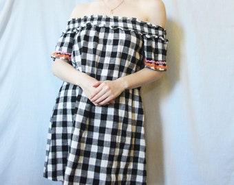 90s Bardot Style Gingham Dress S M