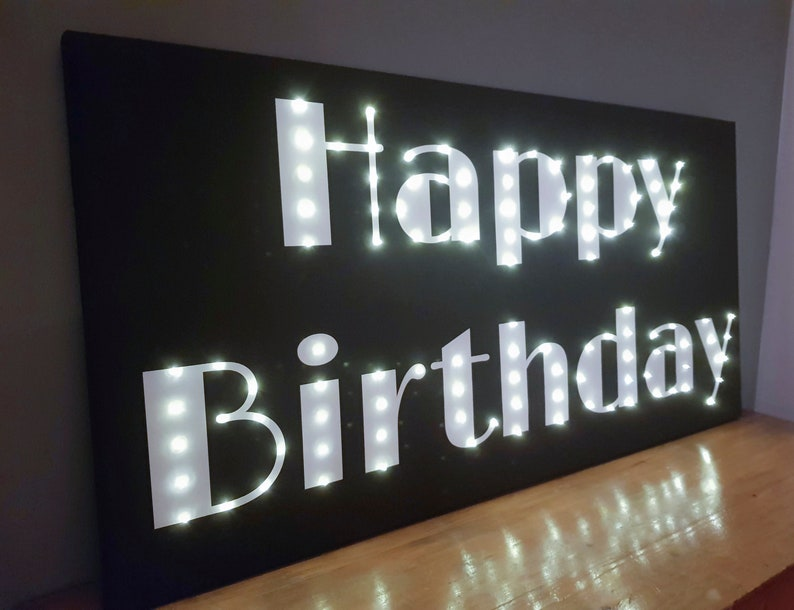 Happy birthday LED sign Birthday gift Light up sign Light up letters Rainbow Party decor Birthday decoration Custom lighted sign