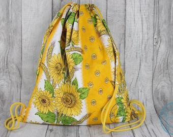 Backpack, gym bag, sunflower pattern, gift for her