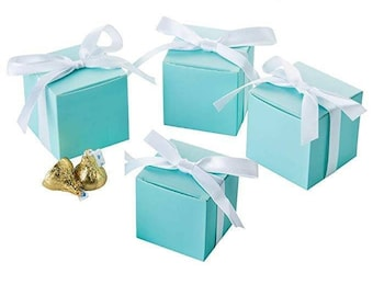 031e182e7f Tiffany Inspired Robin Egg Mint Blue. Favor Boxes. Wedding. Small Square  Treat Boxes. Baby Shower. Birthday Party. Candy buffet. 2x2x2