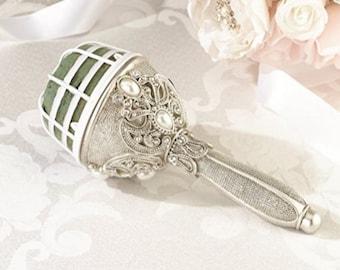 Wedding Jeweled bouquet holder, silver pearl wedding bouquet, diy brooch bouquet holder, great gatsby wedding,