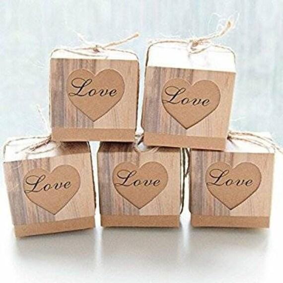 50pcs Wedding Favor Box Bonbonniere Love Rustic Kraft Candy Boxes Jute Rope