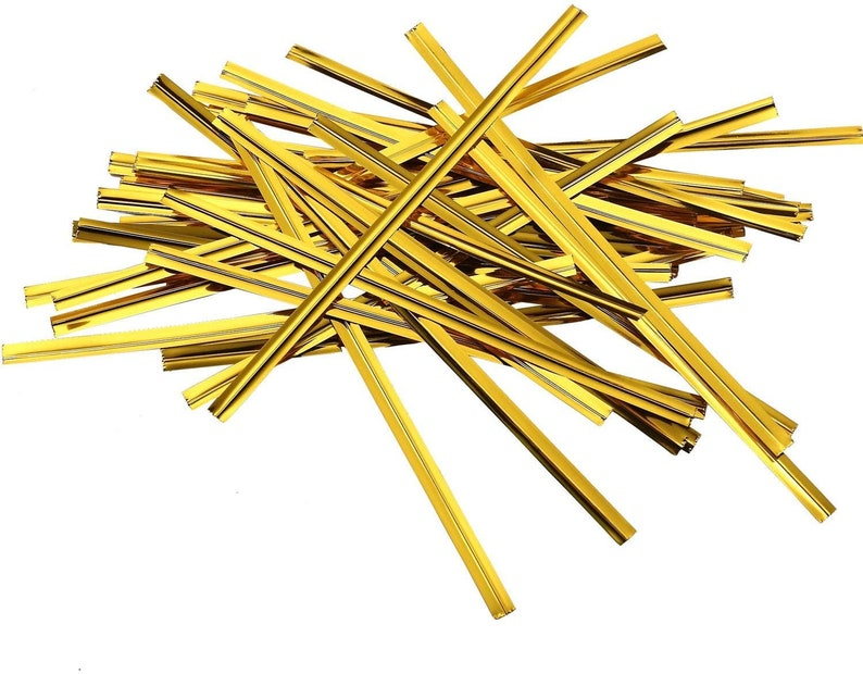 Extra/'s Sale 50pcs Gold Metallic Twist Ties 4 Etsy Shop Supplies Candy Packaging Party Favor Treat Bags,Cellophane bag party twist ties