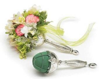 Wedding Silver bouquet holder,leaf design wedding bouquet, diy brooch bouquet holder, water wicking system