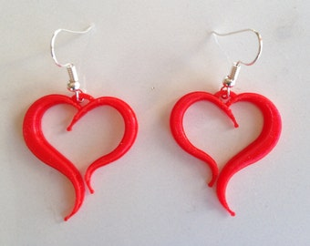 Valentine Earrings, 3D Printed, Red Heart Earrings, Valentines Gift, Valentines Day Jewelry