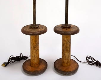 Vintage Spools Converted to Table Lamps