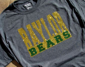 1426e2c70ce Baylor University Bears Glitzy Bling Short Sleeve Spirit T-Shirt with Gold  and Green High Sparkle Glitter on a Charcoal Heather Shirt