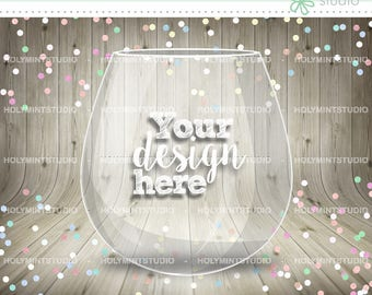 Wine Glass shape Wording on Front Personalised Table Confetti Photo on Reverse