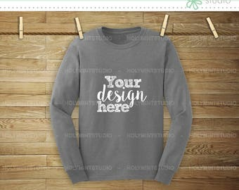 Download Free Long Sleeve Gray Shirt Mockup, T-Shirt Mockup, Clothing Mockup, T-Shirt , Gray Tshirt Mockup, Shirt Mockup, Design Display Mockup PSD Template