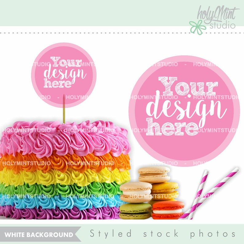 Cake Mock Up Birthday Mockup Rainbow