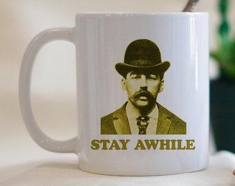 Stay Awhile,  Serial Killers, Cult Leader Mug, Dark Humor Mug, Funny Coffee Mug