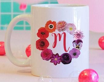 Flower Ring w/ Custom Monogram Coffee Mug, Floral Mug, Custom Coffee Mug, Personalized Coffee Mug, Bridesmaids