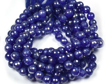 Newly Listed~~1 Strand Blue Moonstone AB Silver Coated Faceted Round Ball Beads~~9mm-10mm~~~Pink Moonstone Gemstone Beads 10 Inches Long