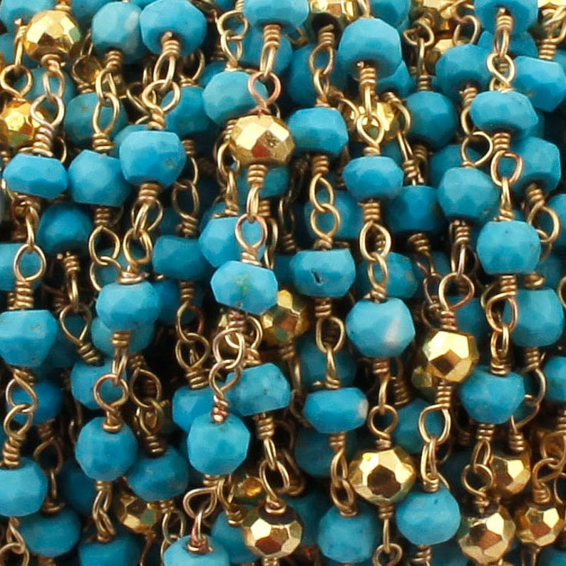5 Feet Beautiful Turquoise And Gold Pyrite Beaded Chain~~~3mm-3.5mm Rosary Chain~~Turquoise And Pyrite Beaded Gold Plated Wire Wrapped Chain