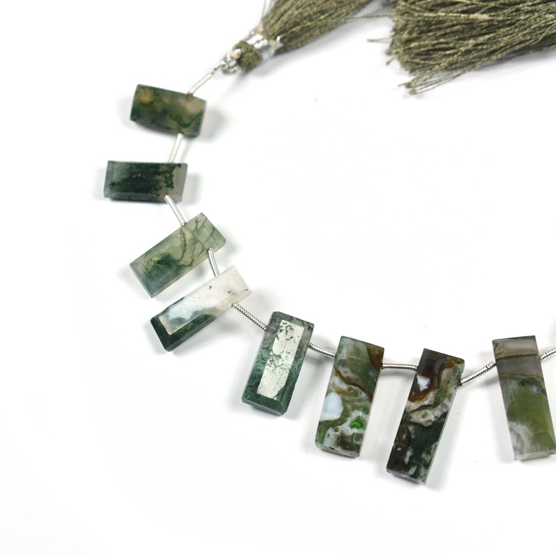 Finest Quality~~~ 1 Strand~~Moss Green Agate Faceted Flat Rectangle Bar Shape Briolettes~~~24mmx7mm-14mmx7mm~~~8 Inch Long