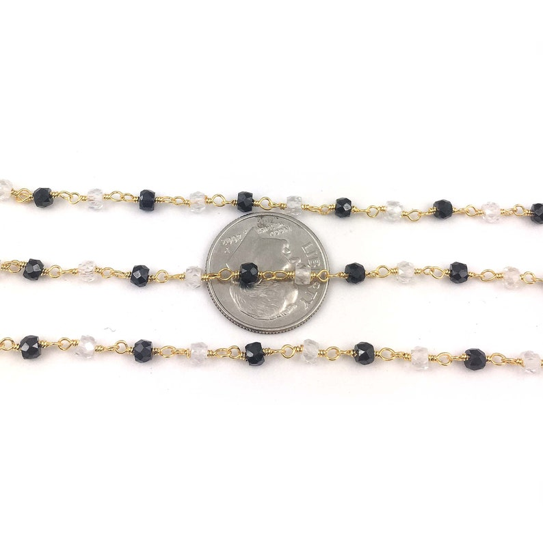 5 Feet~~Beautiful Black And White Cubic Zirconia Rosary Beaded Chain~~3 mm~Multi Colour Black /& White Cubic Zirconia Gold Wire Wrapped Chain