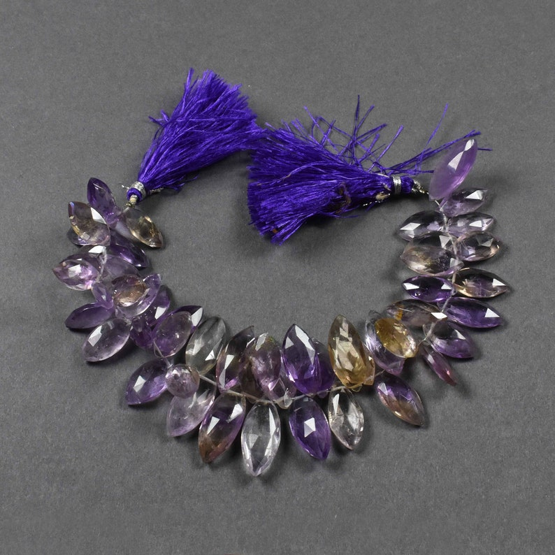 Finest Quality~~~ 1 Strand~~Ametrine Faceted Marqis Beads Briolettes~~~22mmx11mm-15mmx9mm~~~ 8 Inch Long