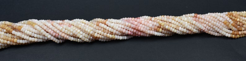 AAA Quality Pink Opal  Shaded Faceted Center Drill Rondelles~~~4mm Pink Opal Gemstone Beads 13 Inches Long