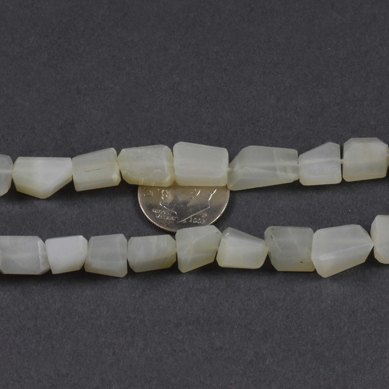 Beautiful 2 Strand~~~White  Moonstone Faceted Nuggets~~~ 11mmx9mm-9mmx7mm~~10 Inch~~~35 Beads