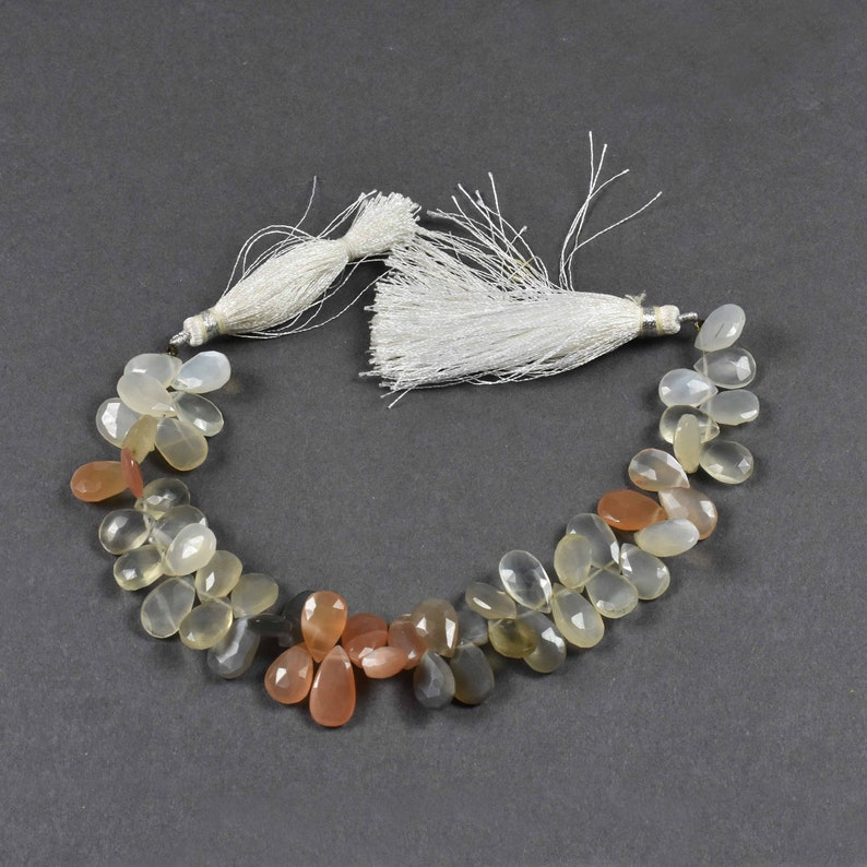 Beautiful 1 Strand~~~Multi Moonstone Pear Drop Faceted Briolettes ~~~ 14mmx8mm-15mmx8mm~~8 Inch long