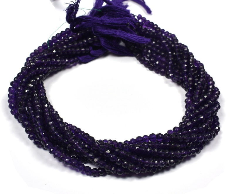 Amethyst Faceted Center Drill Rondelles~~~4mm-5mm~~~Gemstone Beads 13 Inches Long