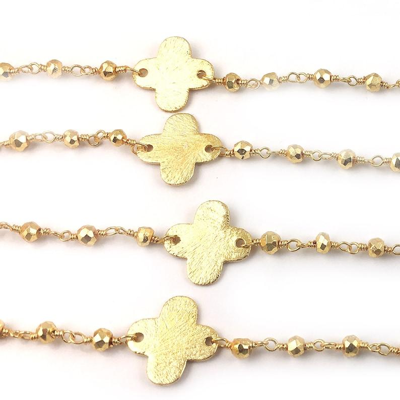 5 Feet~~~ Beautiful Gold Pyrite Clover Quatrefoil Rosary Beaded Chain~~~3-3.5 mm~~~ Gold Pyrite Beaded Gold Wire Wrapped Chain