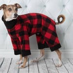 Polar pajamas for whippet greyhound or other breeds,  red and black buffalo, cow pattern or animal patterns and many choices of solid colors