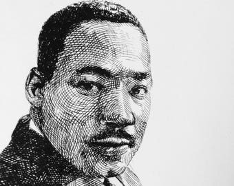 Martin Luther King, Dr, Martin Luther, MKL portrait, Original Etching, not copy, intaglio print, historical art, etching portrait, MLK Day
