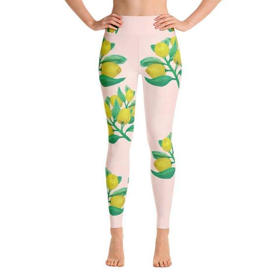 277dbfe680e14 Lemon Activewear Yoga Pants Lemon Print Pink and Yellow | Etsy