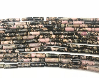 Natural Rhodonite Pink 2x4mm Column Genuine Black Line Loose Tube Beads 15 inch Jewelry Supply Bracelet Necklace Material Support Wholesale