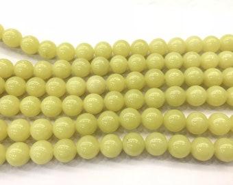 """6mm echte Peridot Perlen gelb natürlichen Edelstein Runde lose Perlen 15/"""""""