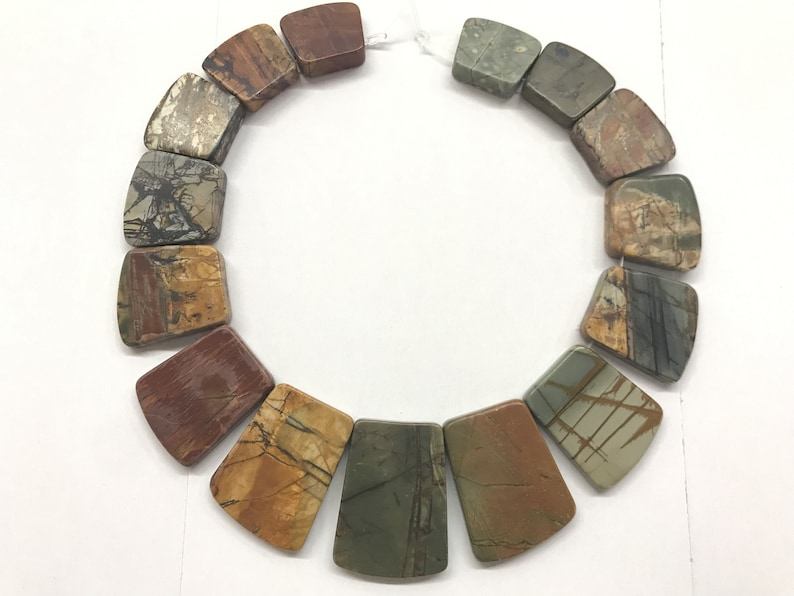 30x41mm Ax-Shaped Genuine Gemstone Loose Beads 34.5cm Jewelry Supply Bracelet Necklace Material Wholesale Matte Picasso Jasper 19x24mm