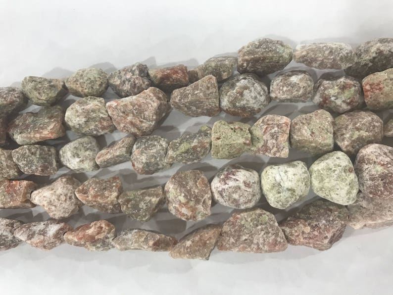Natural Unakite 15-20mm Raw Nuggets Genuine Loose Freeshape Beads 15 inch Jewelry Supply Bracelet Necklace Material Support