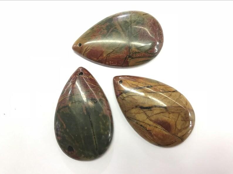 29x47mm Teardrop Gemstone Genuine Pendant Natural Picasso Jasper Waterdrop --1 Piece