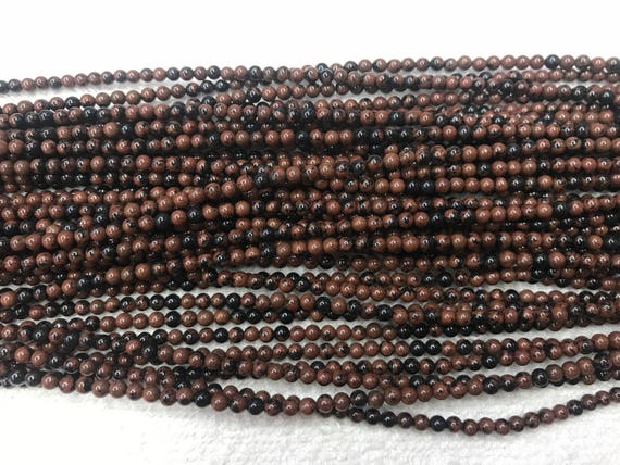 Natural Obsidian 2mm  3mm Round Genuine Black Loose Beads 15 inch Jewelry Supply Bracelet Necklace Material Support Wholesale