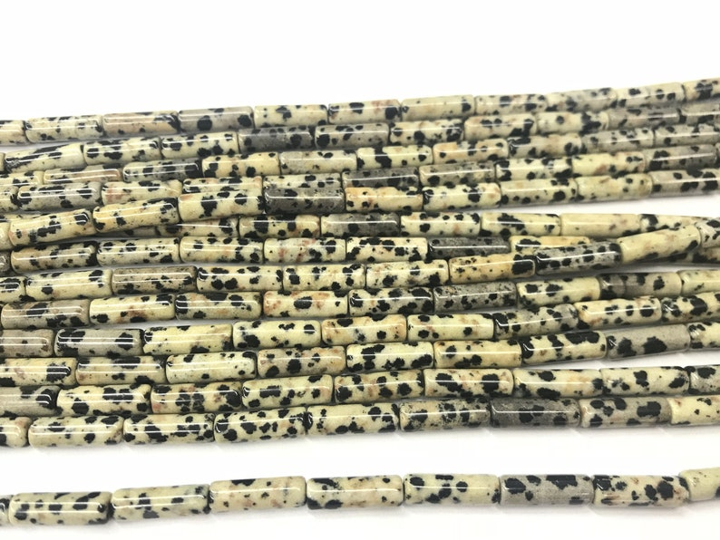 Natural Dalmatian Jasper 4x13mm Column Genuine Spotted Loose Tube Beads 15 inch Jewelry Supply Bracelet Necklace Material Support Wholesale
