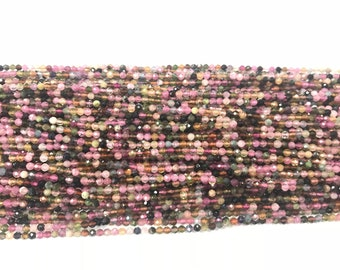 Natural Faceted Tourmaline 3mm Round Cut Genuine Multicolor Grade A Loose Beads 15 inch Jewelry Supply Bracelet Necklace Material Support
