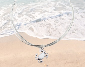 Sterling Silver Anklet with Crab Charm - FREE SHIPPING, personalized anklet beach jewelry, beach anklets, anklet bracelet, adjustable length