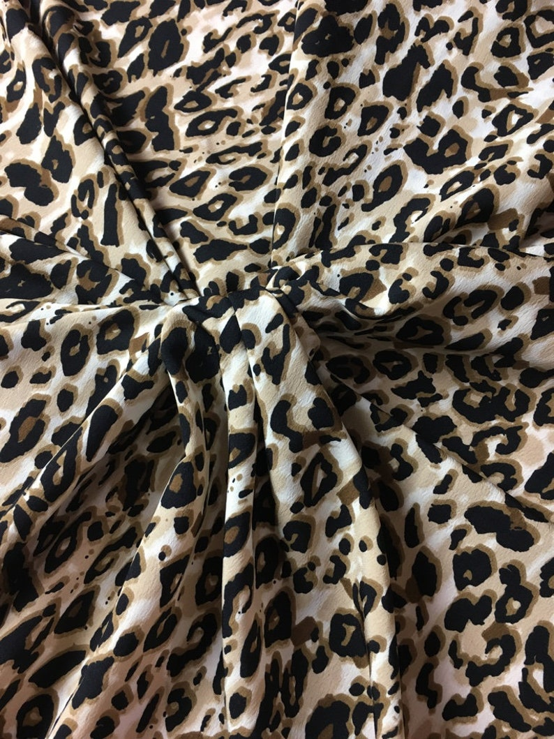 Beautiful leopard Print Crepe Fabric Sold By Meter