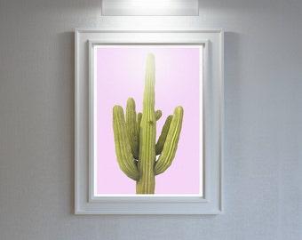 Cactus Print-Pink Wall Art-Digital Download-Pink And Green-South Western-Modern Boho Decor-Botanical Poster-Modern Art Print-Plant Art Print