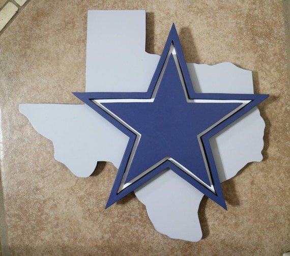 Wooden State Of Texas With Dallas Cowboys Logo With A 3d Star Etsy