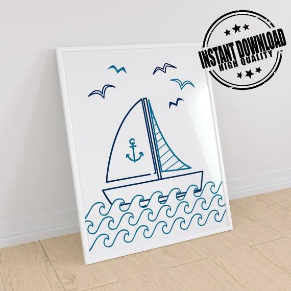 Nautical nursery print boats new baby boy gift personalised bedroom wall art