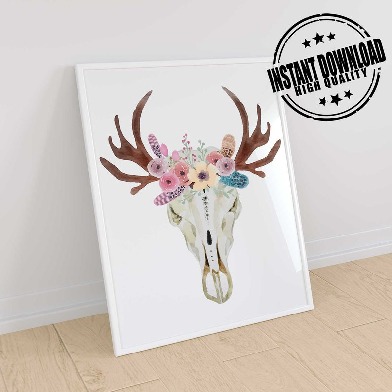 Deer Skull Print Boho Bedroom Decor Boho Nursery Art Boho Etsy